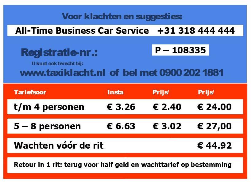 tarieven All-Time Taxi BCS